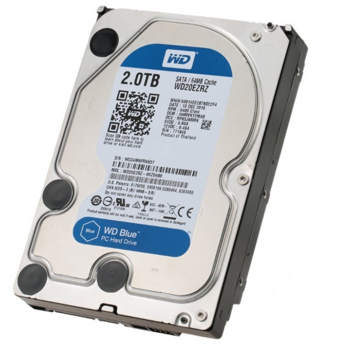 Жесткий диск HDD Western Digital 2000 Gb 5400 rpm SATA 3.5 (WD20EZRZ)